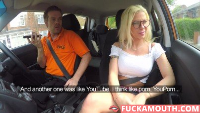 busty student in the fake driving school