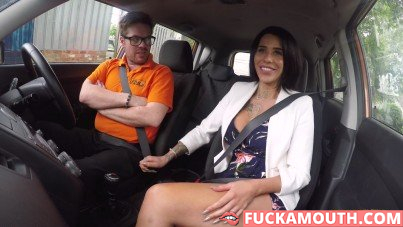 driving lesson for a very busty student