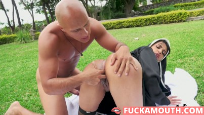 horny nun releases sexual tension with a gardener