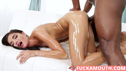 oiled Emily, monstrous cock and a very good fuck