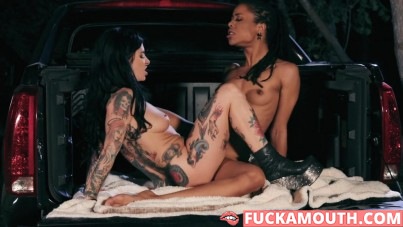 passionate lesbian sex in the back of a pickup truck