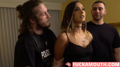 police man punishes a prostitute