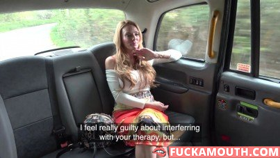 Stacey Saran in the fake taxi