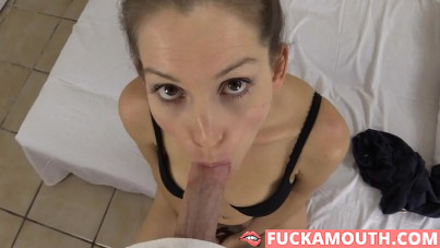 amateur babe does great blowjob and gets creampie