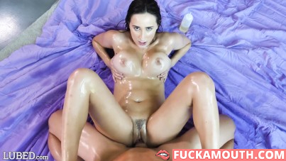 cum inside her oiled pussy