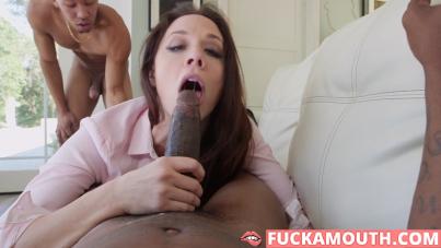 horny realtor meets two big black cocks