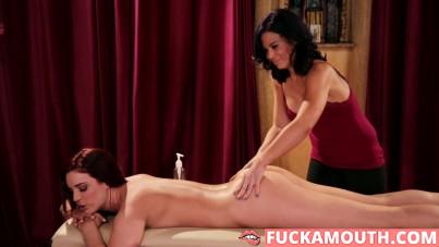 redhead girl seduces her masseuse