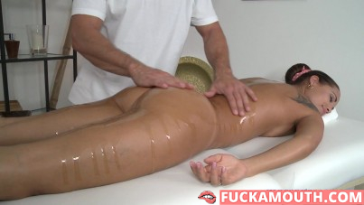 sunburned latina at oiled therapy