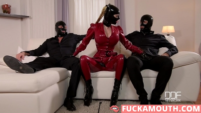 two gentlemen and hot goddess in latex suit