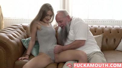 young cutie rides grandpa's cock